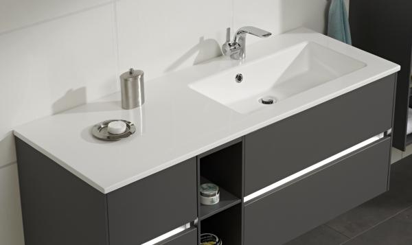 Pelipal Solitaire 6010 Waschtisch mit Unterschrank 133 cm breit - Becken Rechts