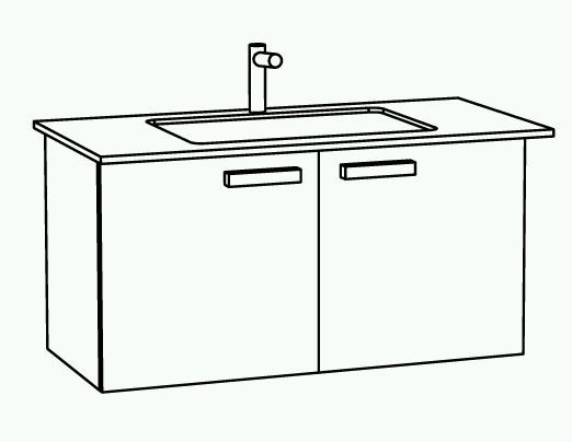 Marlin Bad 3030 - Christall Waschtisch mit Unterschrank 100 cm breit, 2 Türen